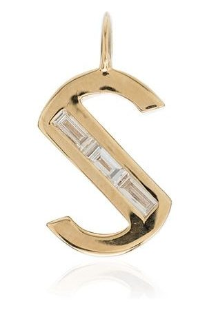 Lizzie Mandler Fine Jewelry Women Necklaces - 18kt yellow gold large S initial diamond charm - METALLIC