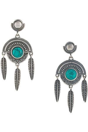 Nove25 Stone feather pendant earrings