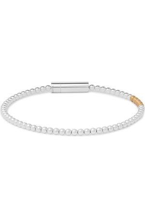 LE GRAMME Le 11 Beaded Polished Sterling and 18-Karat Gold Bracelet