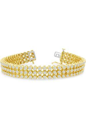 SuperJeweler 8 Inch 9 Carat Three Row Diamond Men's Tennis Bracelet in 14K (26 g), I/J