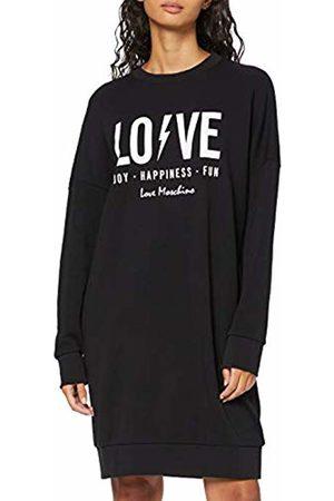 Love Moschino Women's Long Sleeve Fleece Logo & Flash Print_Ribbed Bottom and Cuffs Dress, ( C)