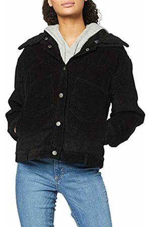 Urban classics Women's Ladies Oversized Corduroy Sherpa Jacket Denim