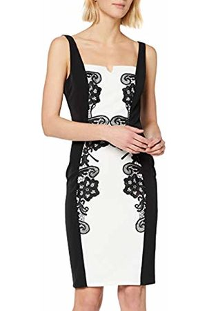 Paper Dolls Women's Monochrome Lace-Trim Illusion Pencil Dress