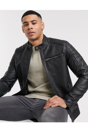 Jack & Jones Leather Jackets - Essentials faux leather racer jacket in