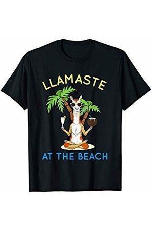Yoga Fanatic By Pemissa Yoga Llamaste At The Beach Meditating Llama Namaste Yogi T-Shirt
