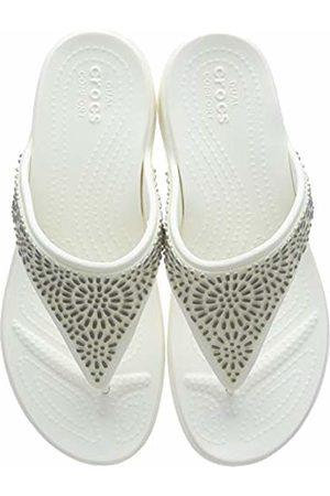 Crocs Women's Monterey Diamante Wedge Flip Flops, (Oyster/Champagne 174)
