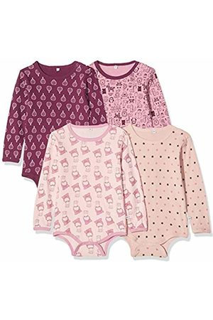 Pippi 3819 Pack of 4 Children's Girls' Bodysuit with Print Long-Sleeved Age 3-4 Years