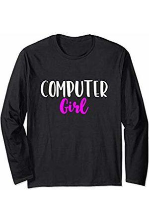 Computer Girl Gift Computer Girl Women IT Tech Support Nerd Funny Cute Gift Long Sleeve T-Shirt