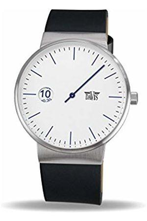 Davis 2106 - Men's Women's Single Hand Watch Design Regulator Dial Black Leather Strap