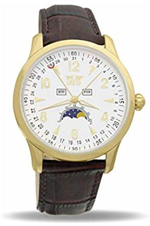 Davis Unisex Adult Moon Phase Quartz Watch with Leather Strap 1509