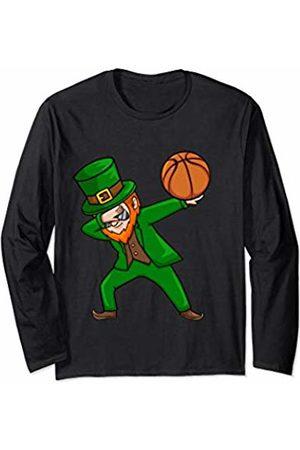 St Patricks Day Viral Shirts Basketball Dabbing Leprechaun st Patrick's Day Boys Girls Long Sleeve T-Shirt