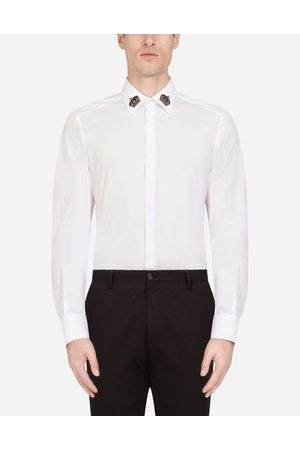 Dolce & Gabbana Shirts - COTTON GOLD-FIT SHIRT WITH CROWN PATCHES