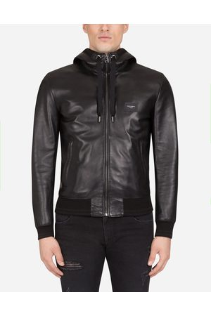 Dolce & Gabbana Jackets - LEATHER JACKET WITH HOOD AND BRANDED PLATE