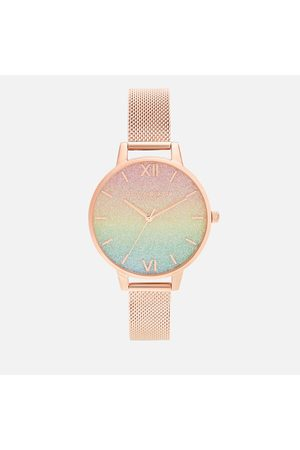 Olivia Burton Women's Rainbow Rainbow Glitter Dial Watch - Rose Mesh