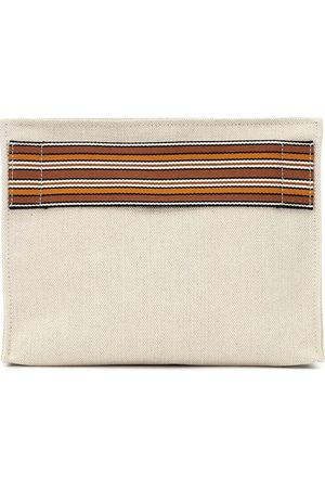 Loro Piana The Suitcase Stripe canvas pouch