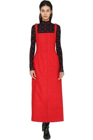 Marine Serre Women Midi Dresses - Monogram Jacquard Wool Midi Dress