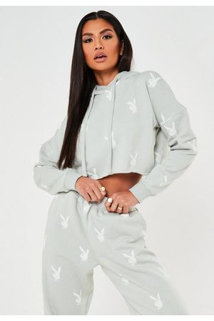 Missguided Playboy X Repeat Print Cropped Hoodie