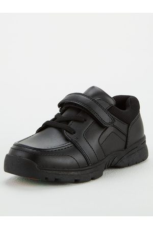 Very Toezone At Younger Boys Leather Elastic Lace With Strap School Shoe