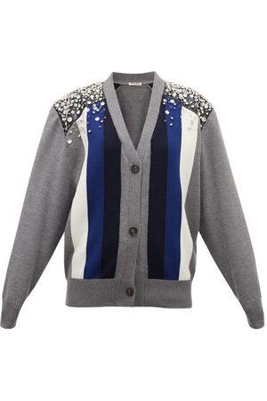Miu Miu Crystal-embellished Striped Wool Cardigan - Womens - Multi