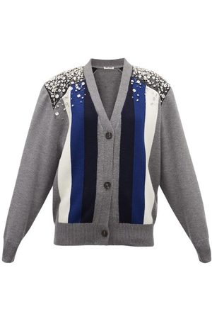 Miu Miu Women Cardigans - Crystal-embellished Striped Wool Cardigan - Womens - Multi