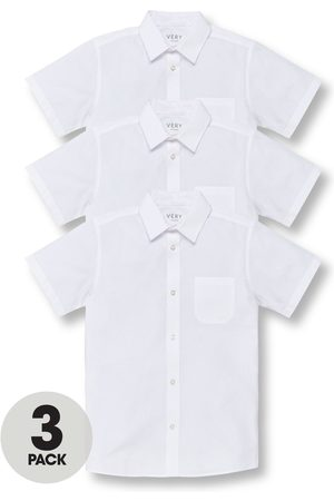 Very Boys 3 Pack Short Sleeve Slim Fit School Shirts