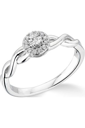 Vero Moda Very 9K 0.10Ct Cluster Ring With Twisted Shoulders