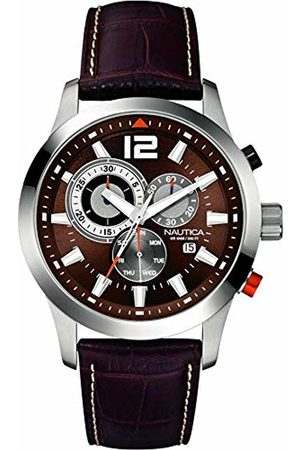 Nautica Mens Chronograph Quartz Watch with Leather Strap A15548G