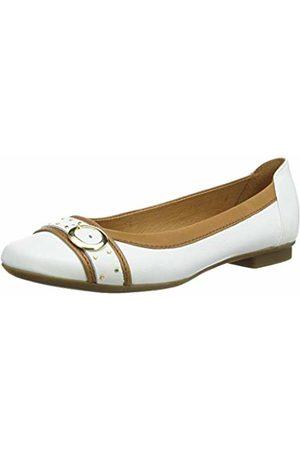 Gabor Women's Casual Ballet Flats, (Weiss/Cognac 21)