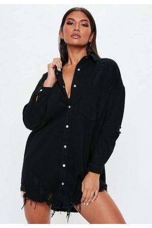 Missguided Distressed Hem Extreme Oversized Denim Shirt Dress