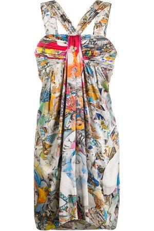 VERSACE Abstract print gathered dress