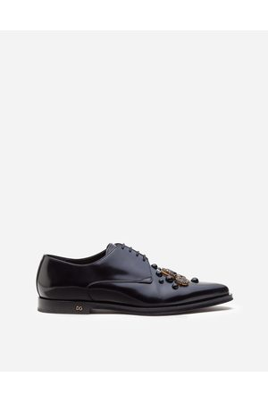 Dolce & Gabbana Lace-Ups - DERBY IN ANTIK CALFSKIN WITH EMBROIDERED STUDS AND BEZELS