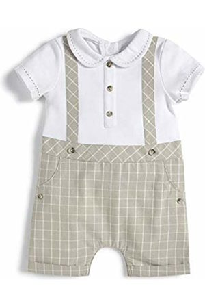 Mamas /& Papas Baby Boys Welcome to The World Mock Braces Jazquard Romper