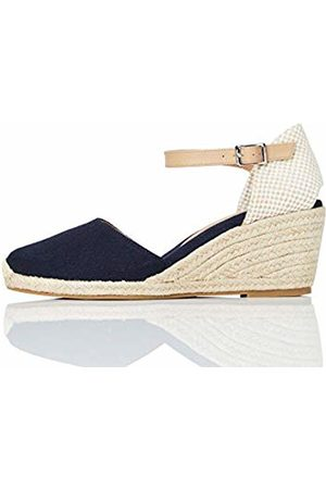 FIND Mid-Wedge Close Toe Canvas Espadrille Sandal, (Navy)