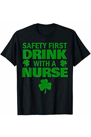Miftees Safety First Drink with a Nurse funny Saint Patricks T-Shirt