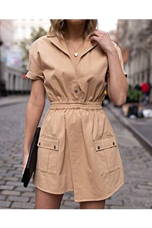 The Drop Women's Golden Sand Short-Sleeve Asymmetric Front Utility Dress by @laurie_ferraro