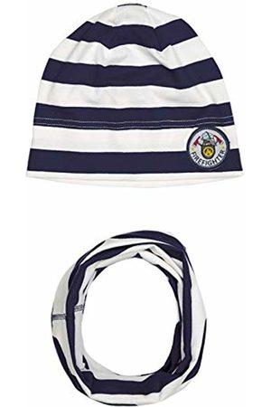 Salt & Pepper Boy's Mütze Gestreift Mit Badge Feuerwehrmotiv Und Loop Scarf, Hat & Glove Set
