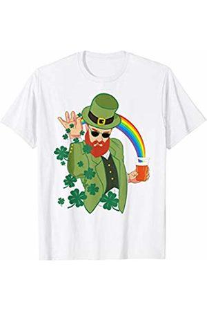Miftees Leprechaun throwing shamrocks funny st paddys day drinking T-Shirt