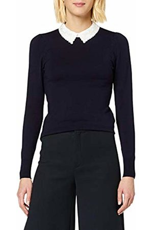 warehouse Women's Lace Collar Puff Sleeve Jumper, Navy/Ivory