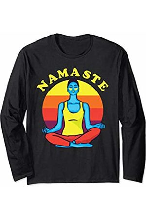 Blonde Tees Awesome Yoga Meditation Apparel Retro Bright Namaste Girl Spiritual Yoga Gift For Women Long Sleeve T-Shirt
