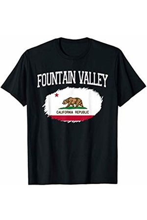 America Love Varsity Style CA Proud Home City Gift FOUNTAIN VALLEY CA CALIFORNIA Flag Vintage Sports Men Women T-Shirt