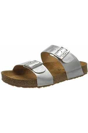 Haflinger Unisex Adults' Bio Andrea T-Bar Sandals, (Silber 1565)