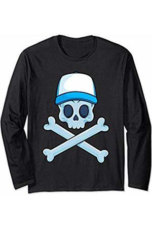 Jolly Roger Pirate Gift Store Jolly Roger Pirate Skull Crossbones Boy Skeleton Bones Boys Long Sleeve T-Shirt