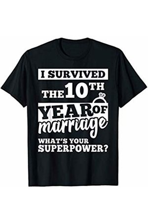 Wowsome! I survived the 10th of Marriage Shirt 10 years of Wedding T-Shirt