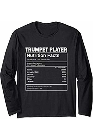 Noodle Bean Apparel Funny Trumpet Player Nutrition Facts - For Women or Men Long Sleeve T-Shirt