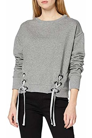 FIND Women's Sweatshirt with Lace Up Ribbed Hem with Long Sleeves, Crew Neck and Regular Fit