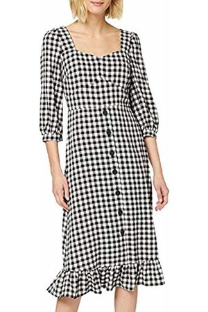 warehouse Women's Gingham Square Neck Peplum Hem Midi Dress Casual