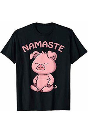 AdnDesigns Co. Funny Pig Yoga Shirts & Gifts Pig Yoga Shirt Funny Pig Lovers Gift Cute Namaste Yoga T-Shirt