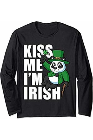 Popular St Patrick's Day T Shirts Panda Kiss Me Im Irish St Patricks Day Ireland Men Women Kid Long Sleeve T-Shirt