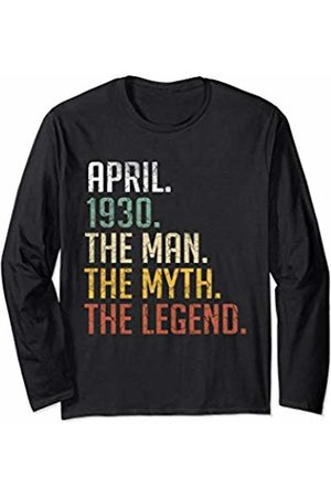 Retro Vintage 90th Birthday Gifts 90 Years Old April 1930 Man Myth Legend 90th Birthday Gift 90 Yrs Old Long Sleeve T-Shirt