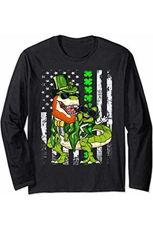 St PatricksScream Tees Funny Irish Flag - St Patricks Holiday Trex Youth Kids Men Long Sleeve T-Shirt